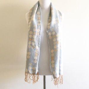 Knit Scarf Fringed Blue Beige Polka Dot Print